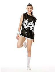 Cheerleader Costumes Dresses Women's Performance Sequined Sequins 1 Piece Short Sleeve Dress