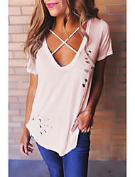 Amazon europe women&# 39; s v-neck t-shirt en coton de couleur unie en train de brûler les modèles de rafale exécutent le montant de
