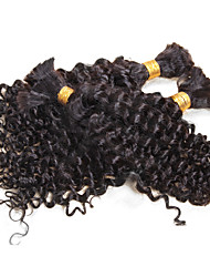 3 Bundles Human Hair Bulk for Braiding Peruvian Virgin Human Braiding Hair Bulk Deep Curly Natural Black No Weft