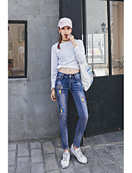 Sign new fashion personality paint elastic waist embroidery Slim was thin female jeans broken copper