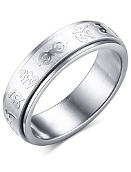 Women's Spinner Ring Stainless Steel Rotate Mantra Ring Chinese Buddhism Charm Jewelry