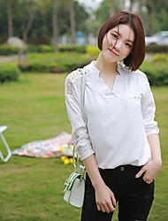Знак весны 2017 небольшой свежий сплошной цвет хлопка с длинными рукавами рубашки женского дикого нижнего рубашку рубашки