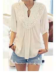 Damen Solide Einfach Arbeit T-shirt,V-Ausschnitt ½ Länge Ärmel Polyester