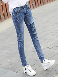 Sign hole jeans female Korean fashion irregular embroidery Slim pencil pants stretch pants feet