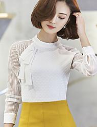 2017 nova primavera mulheres sexy perspectiva camisa de chiffon colar de manga comprida camisa branca feminina