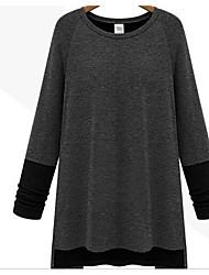 Damen Patchwork Einfach Lässig/Alltäglich T-shirt,Rundhalsausschnitt Langarm Baumwolle
