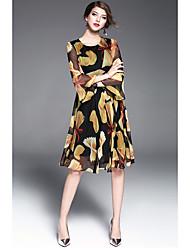Damen Skater Kleid-Lässig/Alltäglich Anspruchsvoll Blumen Rundhalsausschnitt Midi ¾-Arm Andere Alle Saisons Mittlere Hüfthöhe