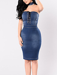 Women's Going out Casual/Daily Sexy Simple Over Hip Slim Split Backless Bodycon Denim DressSolid Strapless Knee-length Sleeveless High Rise