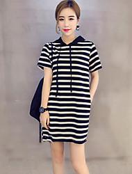 Damen Gestreift Street Schick Ausgehen T-shirt,Rundhalsausschnitt Kurzarm Polyester