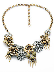 Women's Strands Necklaces Flower Chrome Unique Design Fashion Gold/Silver Jewelry For Wedding Congratulations 1pc