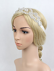 Women's Rhinestone Beads Elasticity Headpiece-Special Occasion/Party Flowers 1 Piece Headdress Hair Band Hair Accessories White