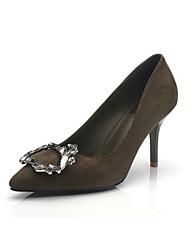Damen-High Heels-Kleid-Wildleder-Stöckelabsatz-Komfort-Schwarz Grün Rosa