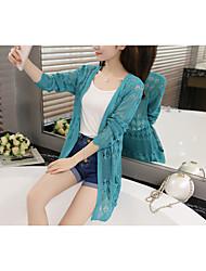 assinar na primavera e verão 2017 versão coreana do novo mulheres&# 39; s camisa suéter openwork malha sol roupas de proteção ar