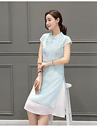 женщина улучшились Cheongsam 2017 новых летних женщины корейского ретра рыхлых талий короткого рукав платье вышито китайский стиль
