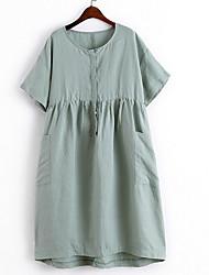 Damen Skater Kleid-Lässig/Alltäglich Solide Rundhalsausschnitt Knielang Kurzarm Baumwolle Sommer Mittlere Hüfthöhe Mikro-elastisch Mittel