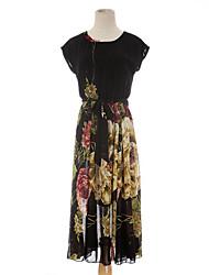 Chiffon dress summer new Korean Slim ladies short sleeve big skirt long skirt