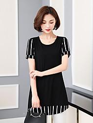 été de la mosaïque striée noire nouvelles blouses modales t-shirt à manches longues minces