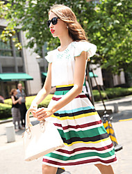 Sign new summer lotus sleeve shirt + tie with Europe in pleated skirt two-piece dress