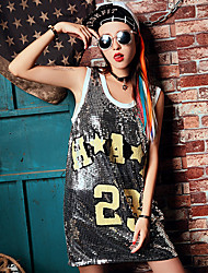 Real shot summer personality sequined dress big yards long section of loose sleeveless vest Women long T-shirt tide