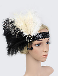 Women's Feather/Beads Rhinestone Sequins Elasticity Headpiece-Special Occasion/Party Flowers 1 Piece Headdress Hair Band Hair Accessories Black