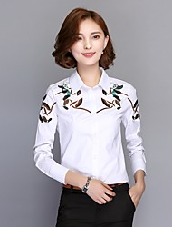 Really making a long-sleeved white shirt autumn 2016 women's embroidered cotton shirt printing Korean version bottoming shirt tide