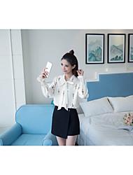 # 2017 modelos primavera mulheres coreanas colarinho stand-up camisa de mangas compridas impressão loja menina tiras tiro real