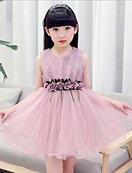 Girl's Beach Print Dress,Cotton Rayon Summer Short Sleeve