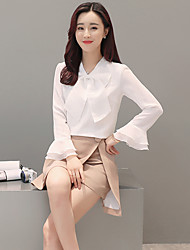 Знак 2017 весна новый женский рог рукав рубашки свободные белые рубашки лук шифон рубашку