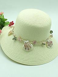 Mujer Primavera Verano Bonito Casual Poliéster Paja Sombrero de Paja Sombrero para el sol,A Rayas
