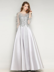 Formal Evening Dress Sheath / Column Jewel Floor-length Mikado with Lace