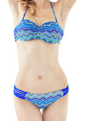Women's Colorful Wave Bandage Ties Swimsuit Bikini