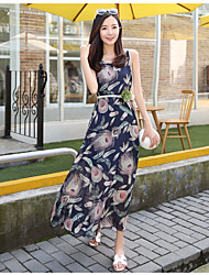 Women's Going out Casual/Daily Sheath Dress,Floral Round Neck Midi Sleeveless Silk Summer Mid Rise Micro-elastic Thin