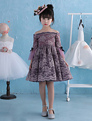 A-line Knee-length Flower Girl Dress - Lace Satin Chiffon Off-the-shoulder with Bow(s) Pearl Detailing