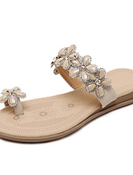 Women's Slippers & Flip-Flops Summer Fall Slingback PU Dress Casual Flat Heel Rhinestone Flower