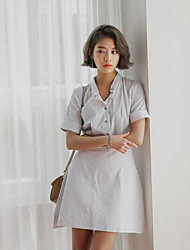 Song Hye Kyo same paragraph spot striped short-sleeved dress waist