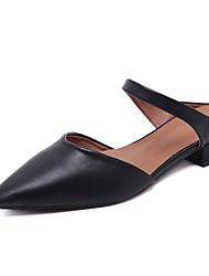Feminino-Rasos-Sapatos clube-Rasteiro-Preto Verde-Couro Ecológico-Social