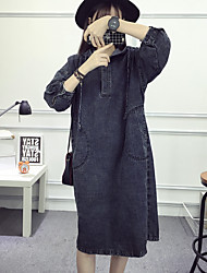 assinar na Primavera de 2017 versão coreana do vestido denim solta com capuz vento maré faculdade vestido ocasional