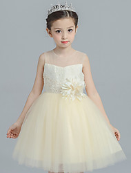 Ball Gown Short / Mini Flower Girl Dress - Cotton Satin Tulle Jewel with Appliques Flower(s) Lace