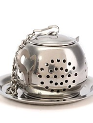 1pc Teapot Pot Shape Stainless Steel Leaf Tea Infuser Filter Strainer Ball Spoon
