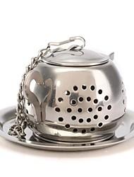 1pc teapot pote forma inox folha chá infuser filtro coador colher bola