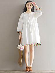Spring new long-sleeved white fringed shirt literary loose skirt dress dress real shot in