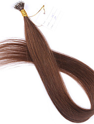 Color #6 Chestnut Brown Nano Tip Hair Extensions 10A Brazilian Remy Human Hair Keratin Fusion Hair Extensions New Nano Tip Hair 100 Strands 1g/Strand