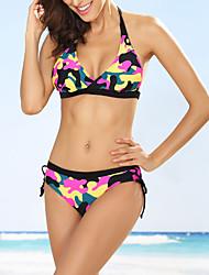 Women's Bandeau Bikini,Floral Nylon