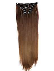 Synthetic Hair 130g  with Clips 16 Clip in Hair Extensions False Hair Hairpieces Straight Hair 58cm Long Apply Hairpiece D1014 4/30#