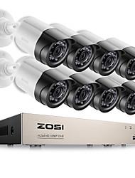 Kits de surveillance d'alerte email zosi® 8ch 1080p hd-tvi dvr 8pcs 2.0mp ir caméra de vision nocturne système de vidéos cctv