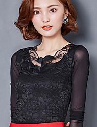 Знак 2017 новый кружевной рубашки женский корейский тонкий тонкий марля рубашка нижняя рубашка большие ярды