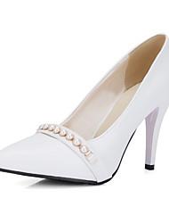 Heels Spring Summer Fall Club Shoes PU Wedding Office & Career Dress Stiletto Heel Imitation Pearl Black Red White