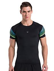 Vansydical® Men's Short Sleeve Running Tops Quick Dry Spring Summer Sports Wear Exercise & Fitness Terylene Slim Classic
