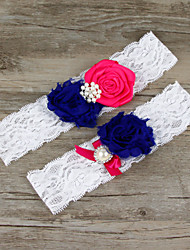 2pcs/set Purple And Rose Red Satin Lace Chiffon Beading Wedding Garter