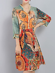 Sign spring and summer women new retro print silk dress in loose big yards silk dress